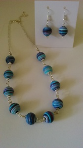 Fimo beads made into necklace and earrings.