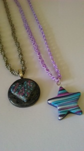 Fimo pendants with Macramé.