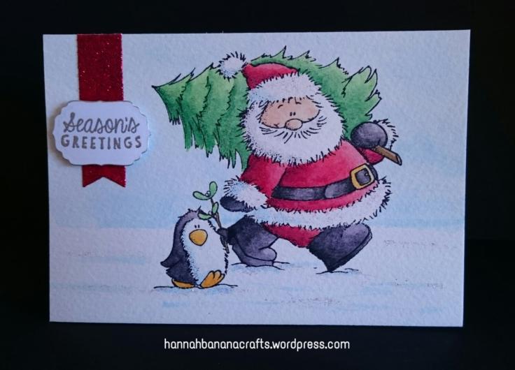 Watercolour Santa and Penguin
