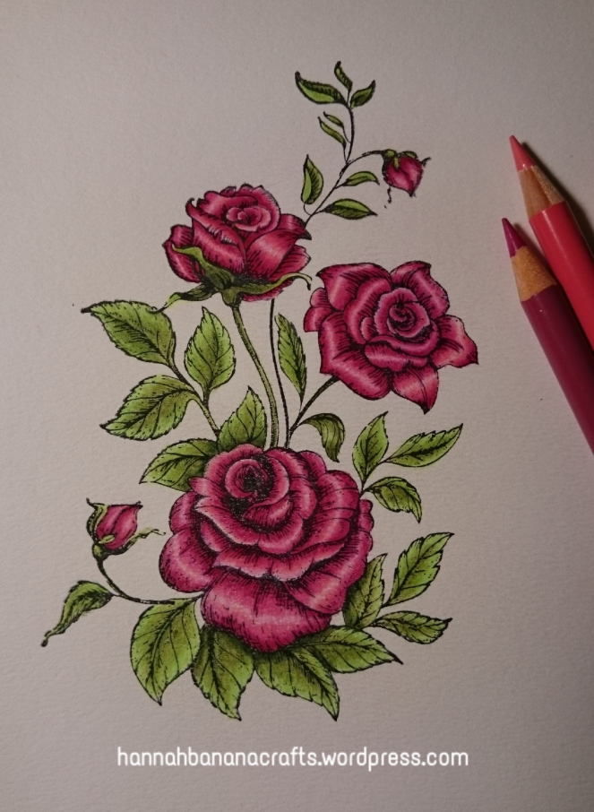 Kanban roses stamp with Polychromos