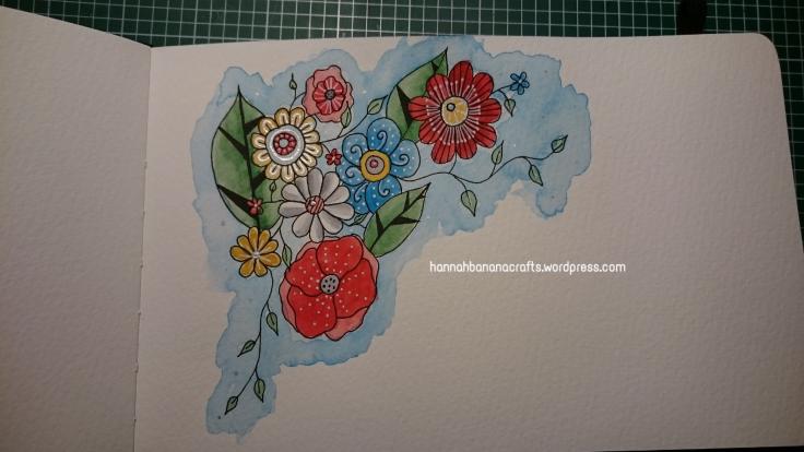 Winsor and Newton Cotman watercolour flower doodle