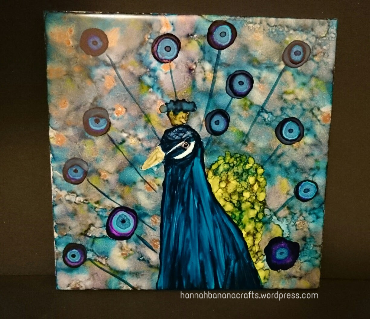 Ranger alcohol ink painted peacock tile