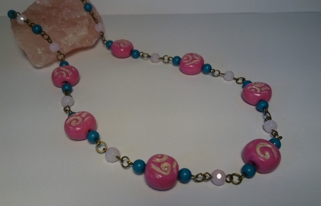 Pink fimo bead necklace