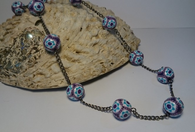 Purple cane bead necklace