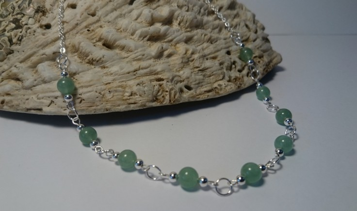 Sterling silver necklace with Aventurine