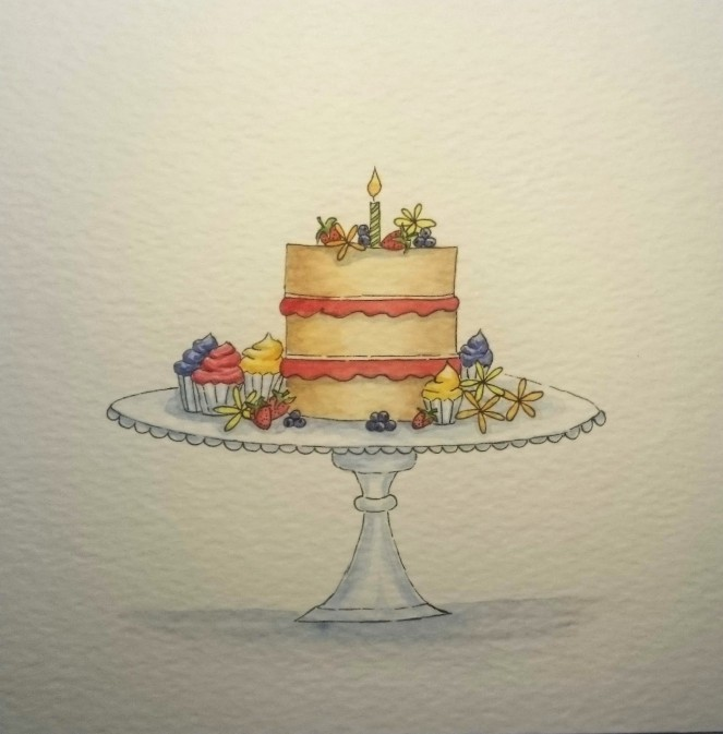 Cake watercolour panel