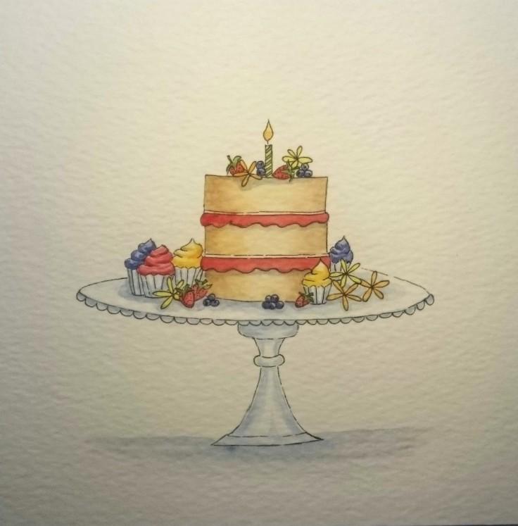 Cake watercolour panel