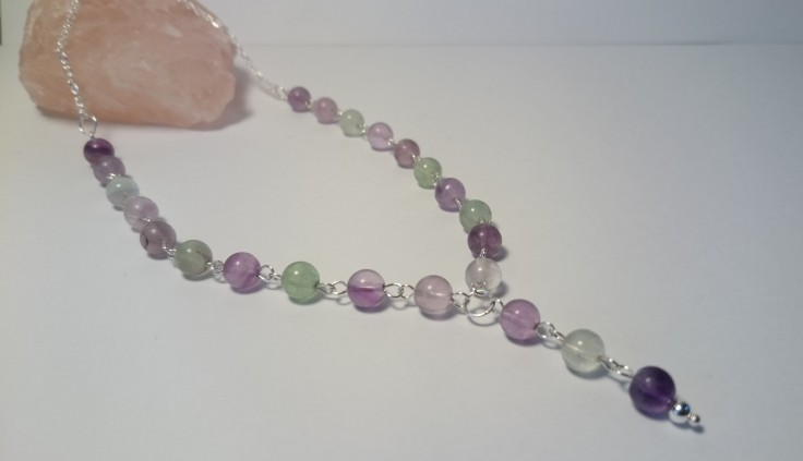 Sterling silver necklace with Fluorite