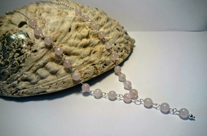 Rose quartz and Sterling Silver Neckalce