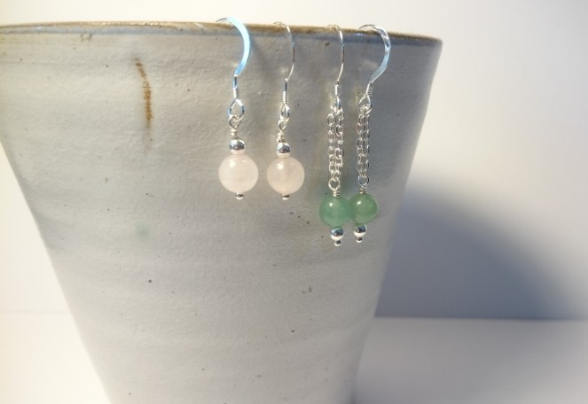 Sterling silver earrings with rose quartz and fluorite