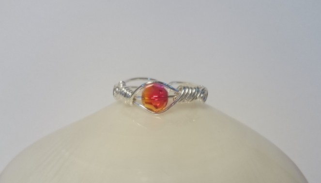 Wire wrapped swarovski crystal ring