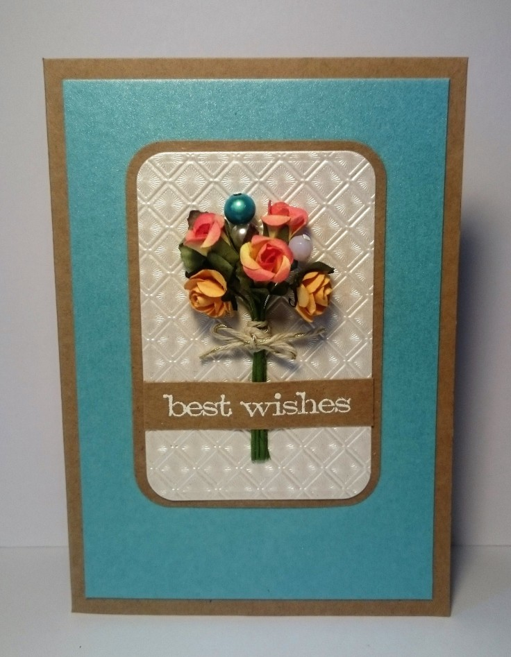 Flowers and beaded embellishments handmade card