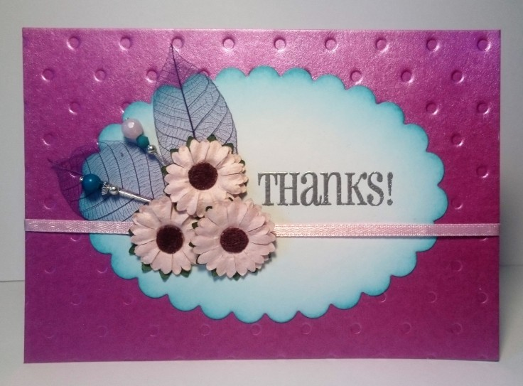 Flowers with skeleton leaves and beaded embellishments handmade card
