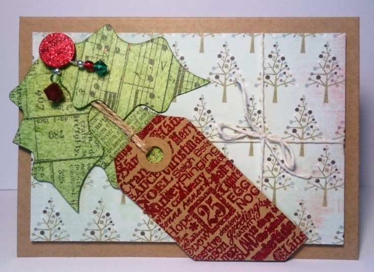 Holly and beaded embellishments handmade card