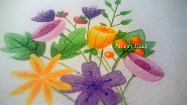 Watercolour flowers original close up