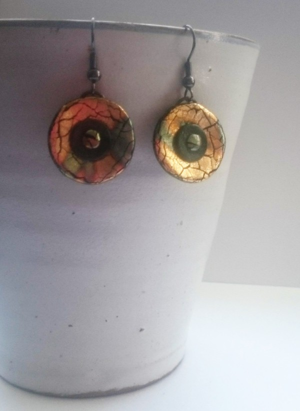 Fimo Abalone metal leaf earrings