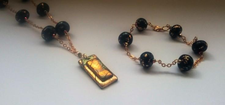 Fimo abalone metal leaf necklace and bracelet
