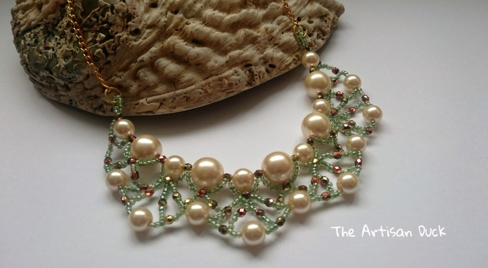 Pearl with firepolish and seed beads necklace