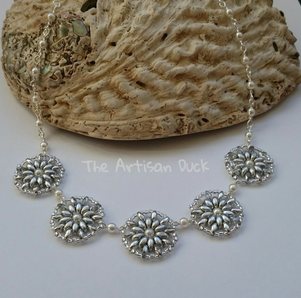 Superduo, seed bead and pearl necklace