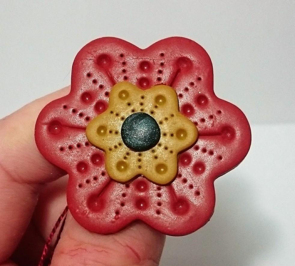 Handmade polymer clay/ fimo flower brooch
