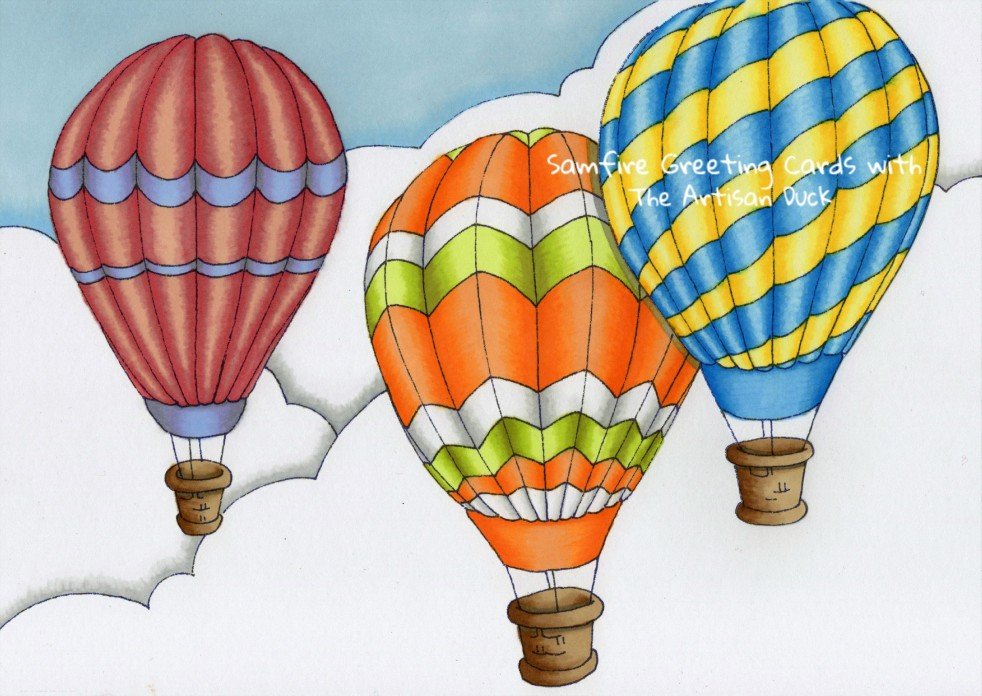 Samfire greeting cards balloons colouring page