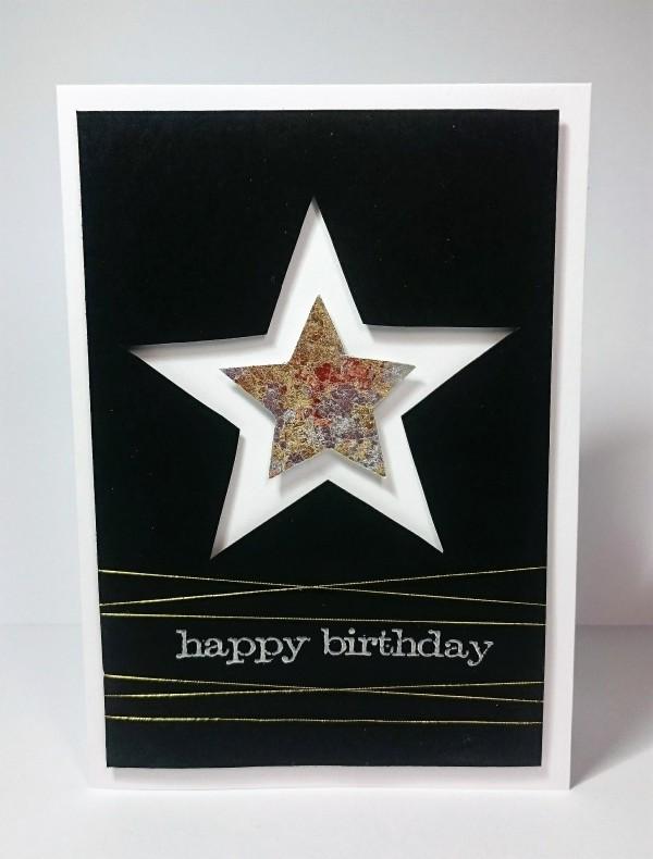 Gilding flake star card, masculine birthday card.