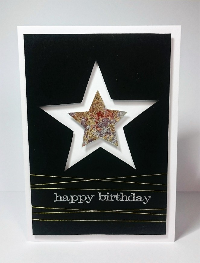 Gilding flake star card, masculine birthday card.