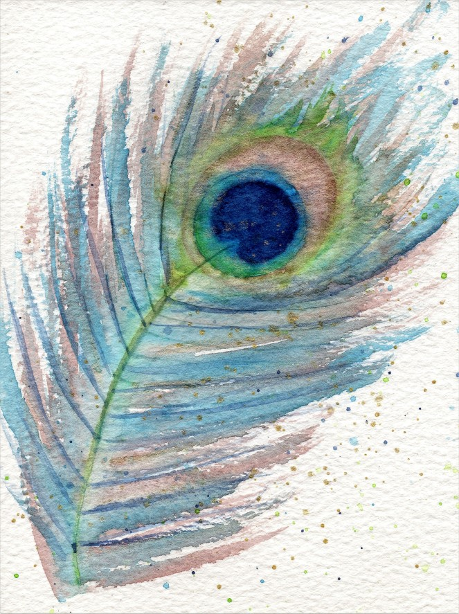 Watercolour peacock feather