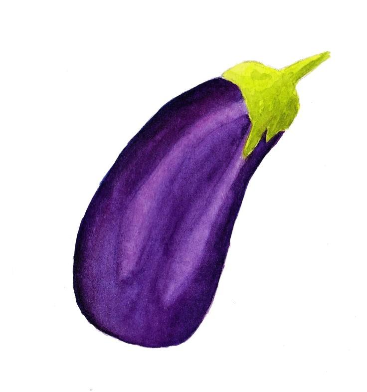 Watercolour aubergine