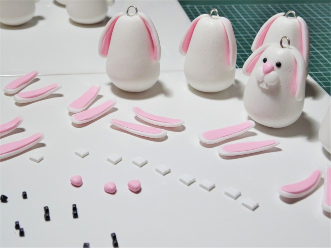 Polymer clay rabbit being made