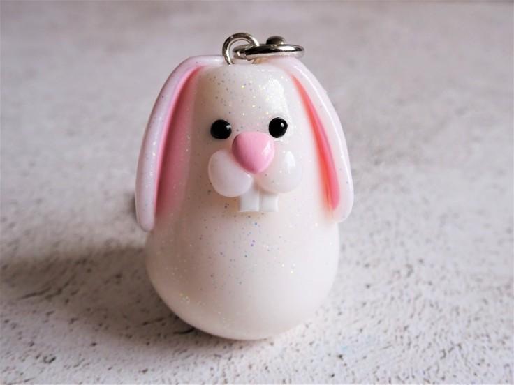 Polymer clay rabbit keyring