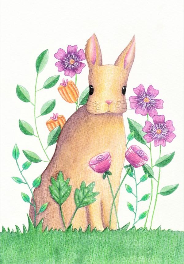 Rabbit and flowers illustration