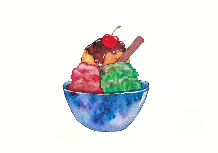 Ice-cream painted with Brusho