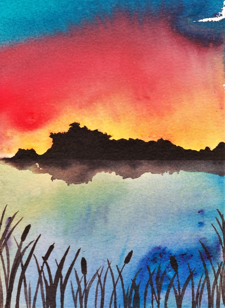 Sunset painted with Brusho