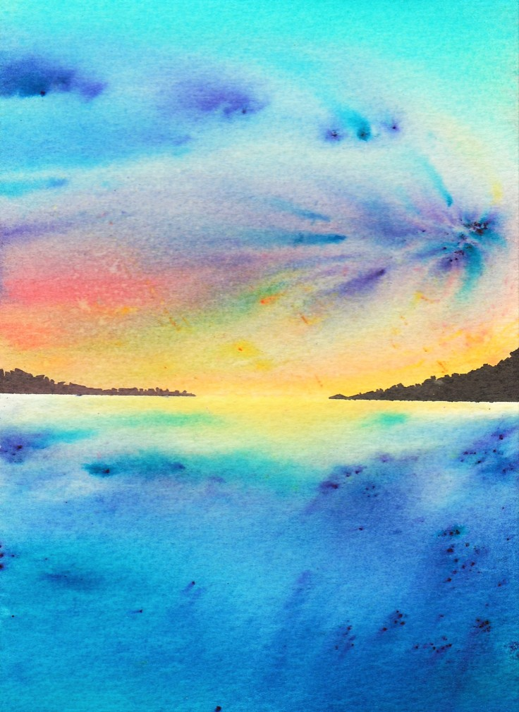 Seascape painted with Brusho