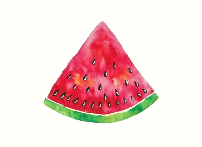 Watermelon painted with brusho