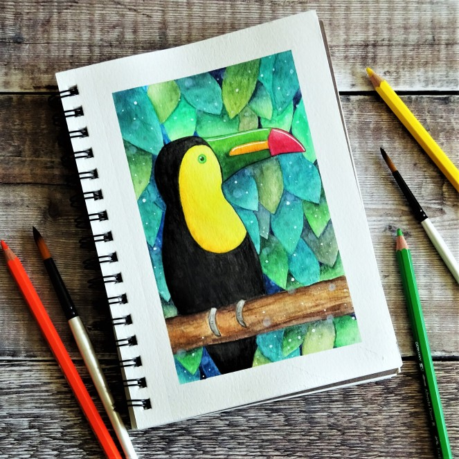 Watercolour pencil Toucan illustration
