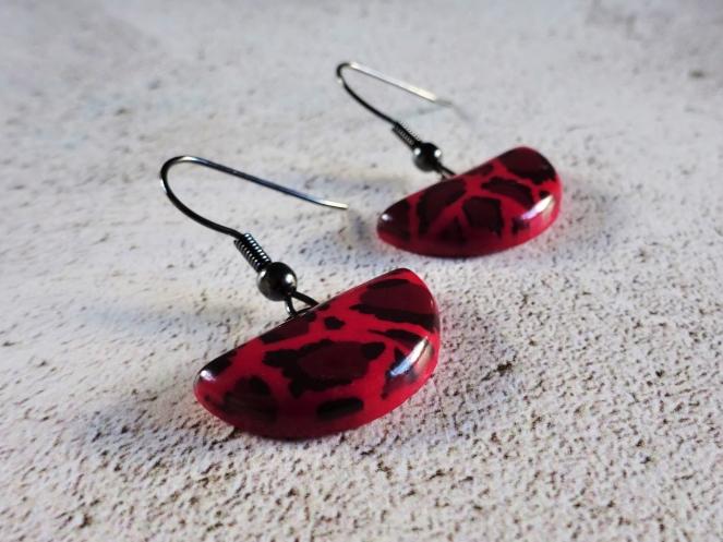 Red leopard print earrings