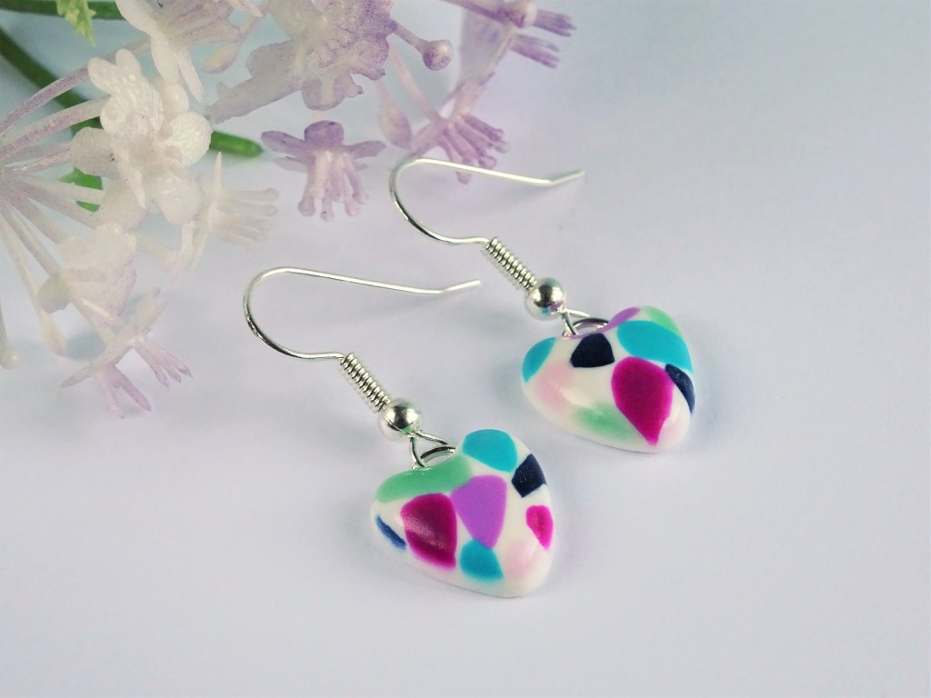 Polymer clay terrazzo earrings