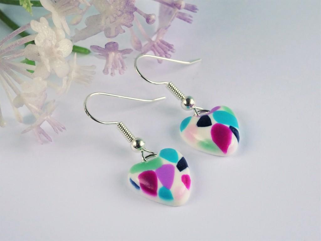 Polymer clay terrazzo earrings