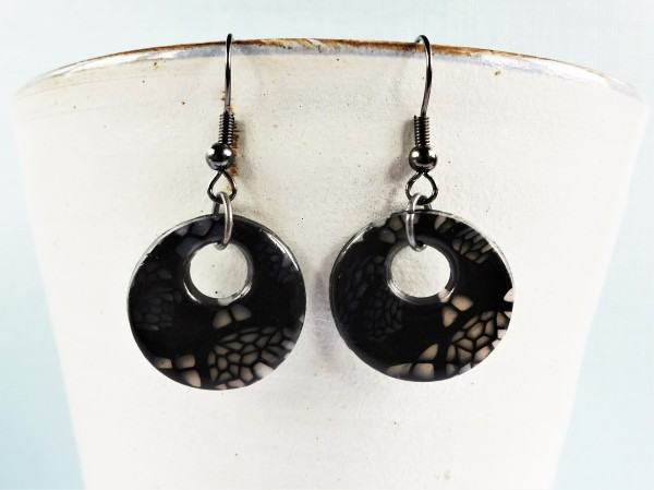 Polymer clay lace cane earrings