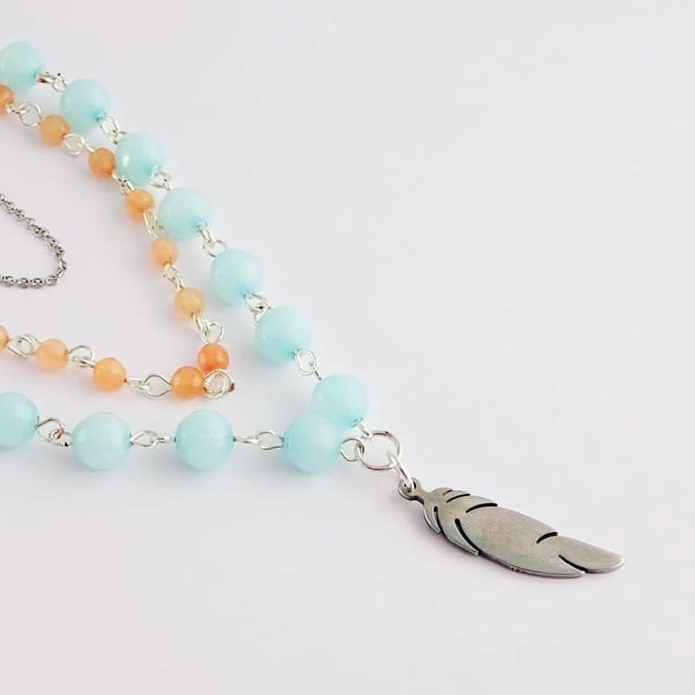 Feather layered Agate necklace