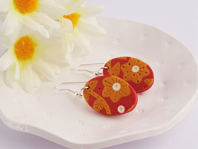 Burnt orange flower earrings