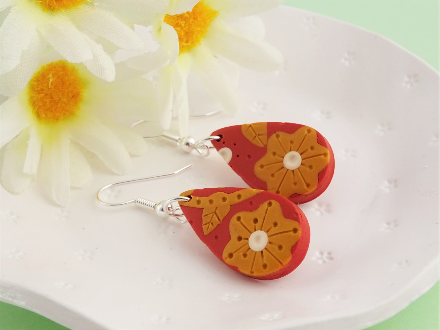 Burnt orange flower earrings