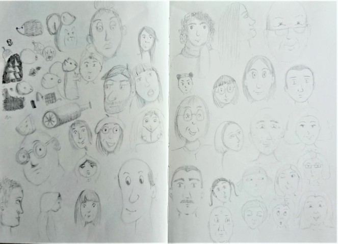 Doodled faces