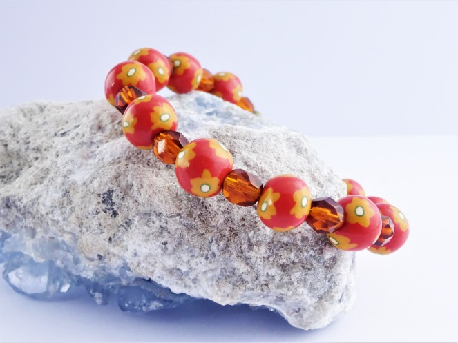 Easy beginner polymer clay flower cane tutorial / Burnt orange bracelet