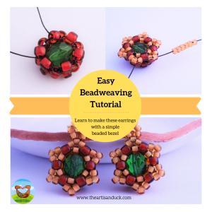 Beginner beadweaving earring tutorial easy beaded bezel