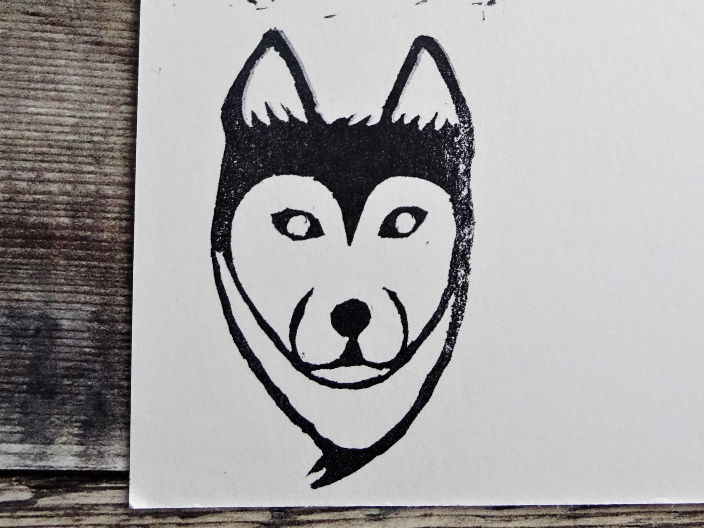 Inktober 2019 Day 6 Husky Stamp carving Lino cutting