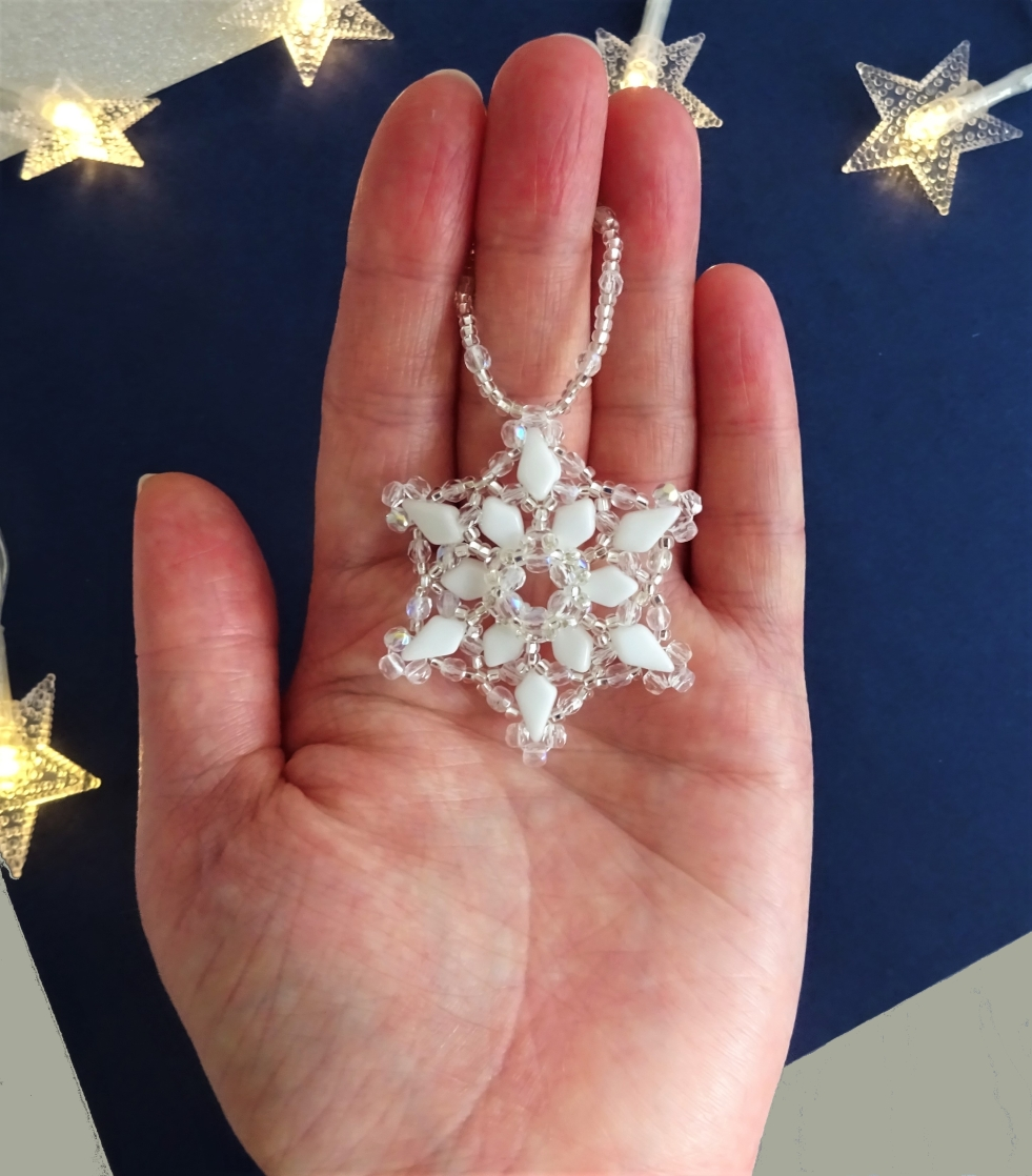 Beadweaving snowflake beaded tutorial with kite beads