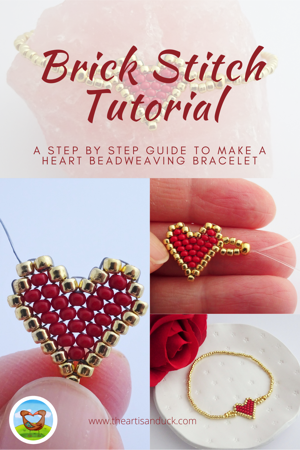 Brick stitch beadweaving heart tutorial / how to increase and decrease brick stitch